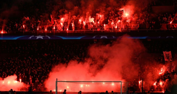 Les supporters du PSG lors du match retour contre le Real Madrid le 6 mars 2018 au Parc des Princes à Paris.