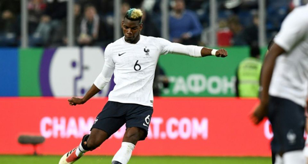 Paul Pogba incrit un but avec les Bleus contre la Russie, en match amical à Saint-Pétersbourg, le 27 mars 2018.