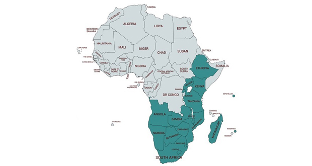 L'Eastern and Southern African Anti-Money Laundering Group regroupe 18 pays d'Afrique. (source : http://www.esaamlg.org/)