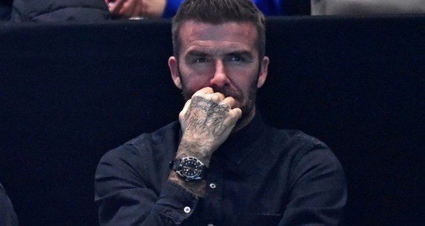 L'ancien international anglais David Beckham assiste à un match de tennis à Londres le 18 novembre 2018