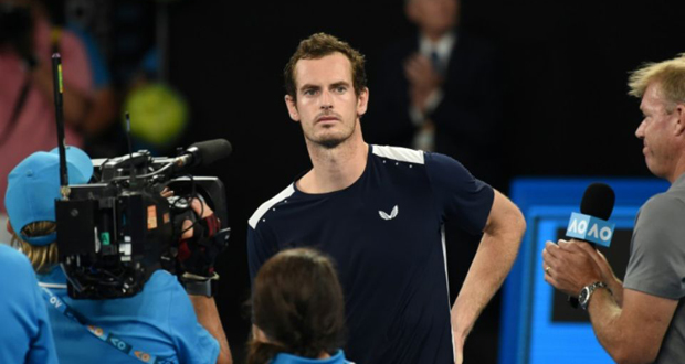 Andy Murray à l'issue de son dernier match à l'Open d'Australie à Melbourne, le 14 janvier 2019.