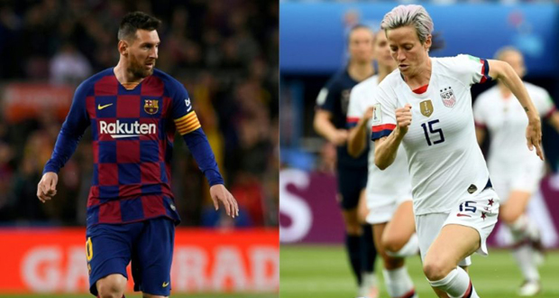 L'Argentin Lionel Messi et l'Américaine Megan Rapinoe, grands favoris du Ballon d'or 2019.