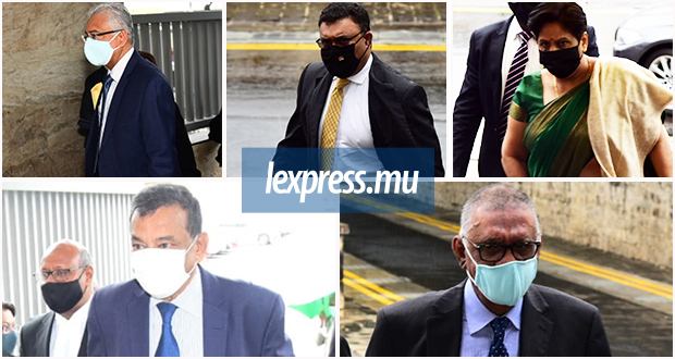 (From left to right up) Pravind Jugnauth, Yogida Sawmynaden, Leela Devi Dookun-Luchoomun,  (Left to right down) Ivan Collendavelloo and Irfan Rahman were in Court yesterday.