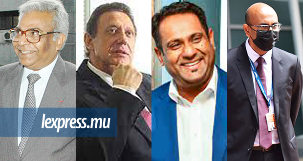 """(From L. to R.) MK CEOs, Harry Tirvengadum, from the 1970s until the """"Caisse noire"""" scandal; Andre Viljoen (2011-2015); Somas Apavou (2015-2020); and Ken Arian, CEO of Airport Holdings as from September."""