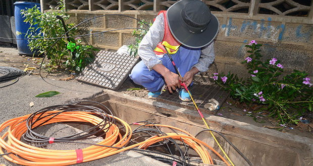 An installation of fibre optic cables by Mauritius Telecom in Goodlands, in 2015. Fibre optic cables have transformed the economic landscape globally, reducing drastically the digital divide and accelerating the pace of technology diffusion, states the author.